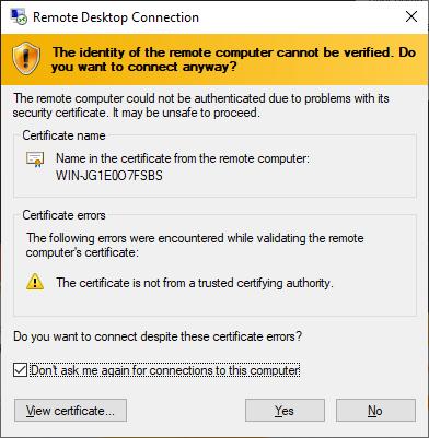 تایید هویت از طریق اتصال ریموت کانکشن Remote Desktop Connection